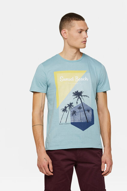 "Herren-T-Shirt mit ""Sunset Beach""-Print Hellblau"