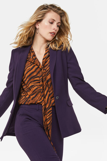 Damen-Regular-Fit-Blazer Dunkelviolett