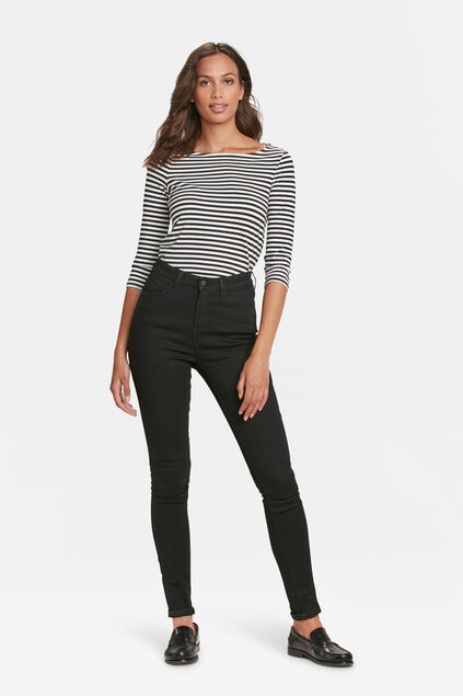 Damen-High-Rise-Skinny-High-Stretch-Jeans Schwarz