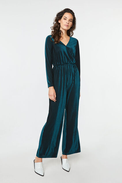 Damen-Jumpsuit in gerippter Samt-Optik Blau
