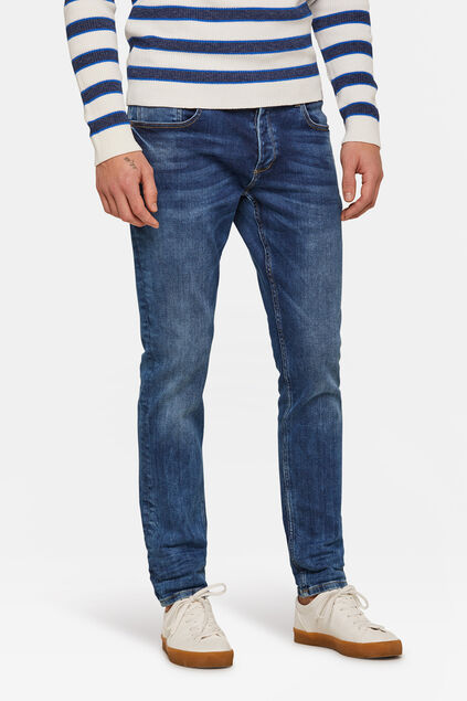 Herren-Slim-Fit-Jog-Denim Jeans mit Tapered Leg Blau