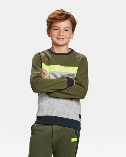 JUNGEN-SWEATSHIRT IN COLOURBLOCK-OPTIK Armeegrün
