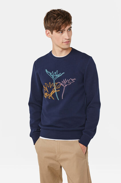 Herren-Sweatshirt mit Stickerei Marineblau