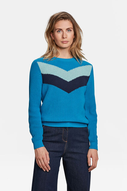 DAMENPULLOVER IN COLORBLOCK-OPTIK Knallblau