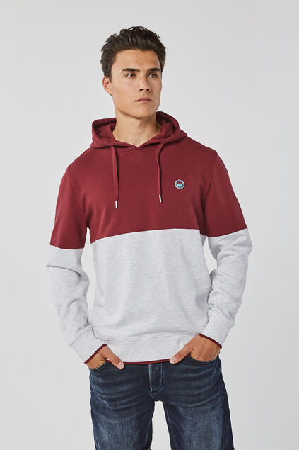 Herren-Kapuzensweatshirt in Colourblock-Optik Weinrot