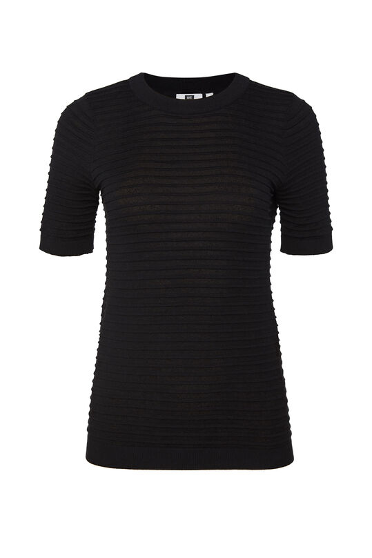 Damen-T-Shirt in Ripp-Optik Schwarz