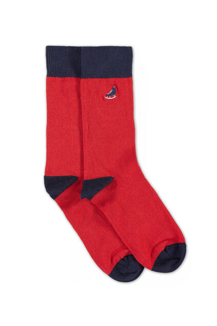 Herrensocken mit Applikation Rot
