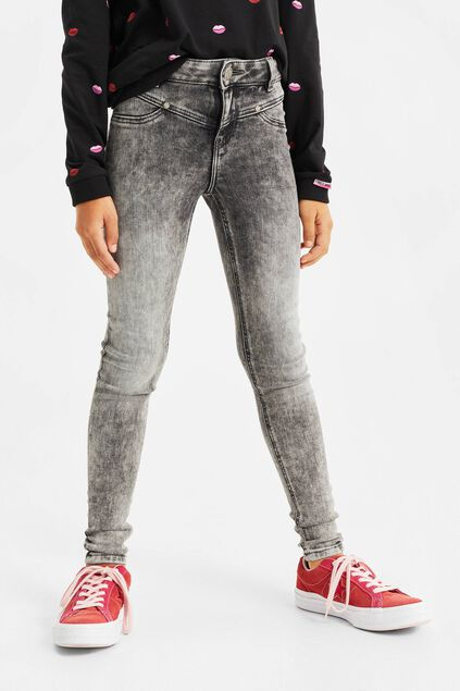 Mädchen-Superskinny-Fit-Jeggings Grau