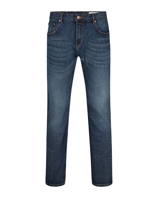 HERREN-RELAXED-TAPERED-COMFORT-STRETCH-JEANS Blau