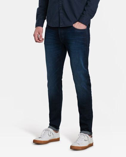 HERREN-STRETCH-JEANS MIT TAPERED LEG Blau