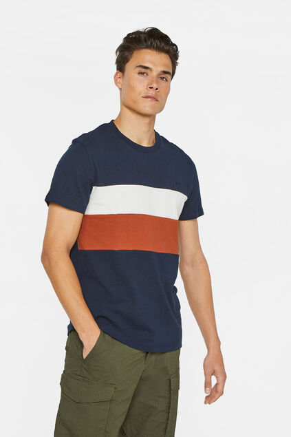 Herren-T-Shirt in Colourblock-Optik Dunkelblau