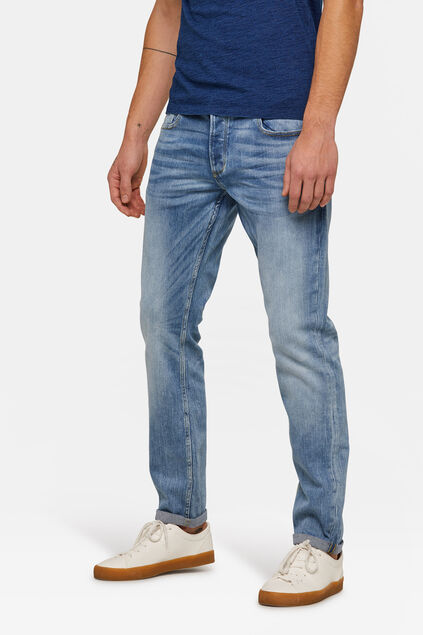 Herren-Slim-Fit-Jog-Denim Jeans mit Tapered Leg Hellblau