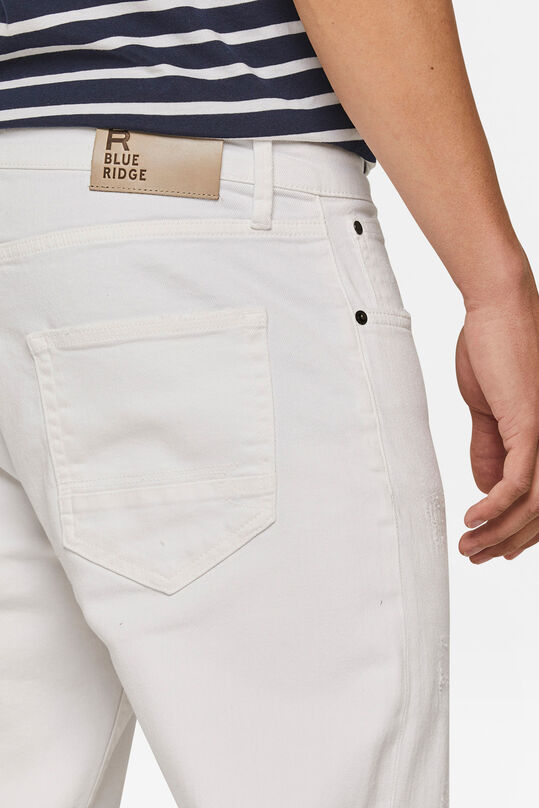 Herren-Relaxed-Cropped-Tapered-Jeans mit Destroyed-Details Weiß