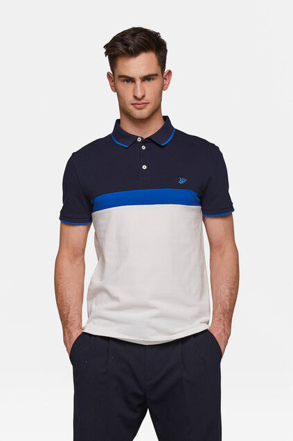 Herren-Piqué-Poloshirt in Colourblock-Optik Weiß