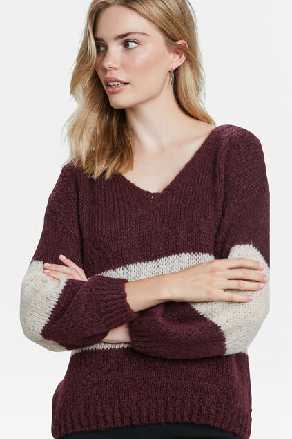 DAMENPULLOVER IN OVERSIZED-OPTIK Weinrot