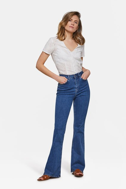 Flared-Jeans mit hoher Taille Dunkelblau