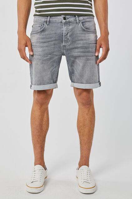 Herren-Regular-Fit-Shorts aus Jog-Denim Grau