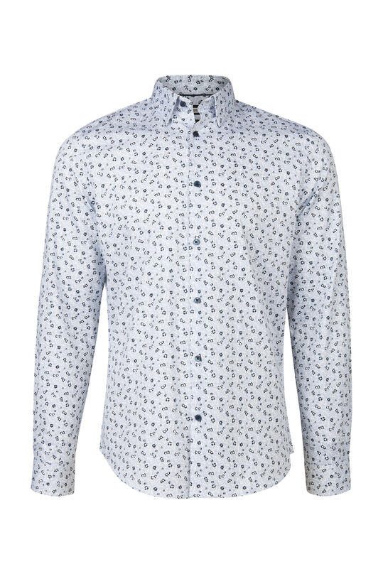 Herren-Slim-Fit-Hemd mit Blumenmuster Hellblau