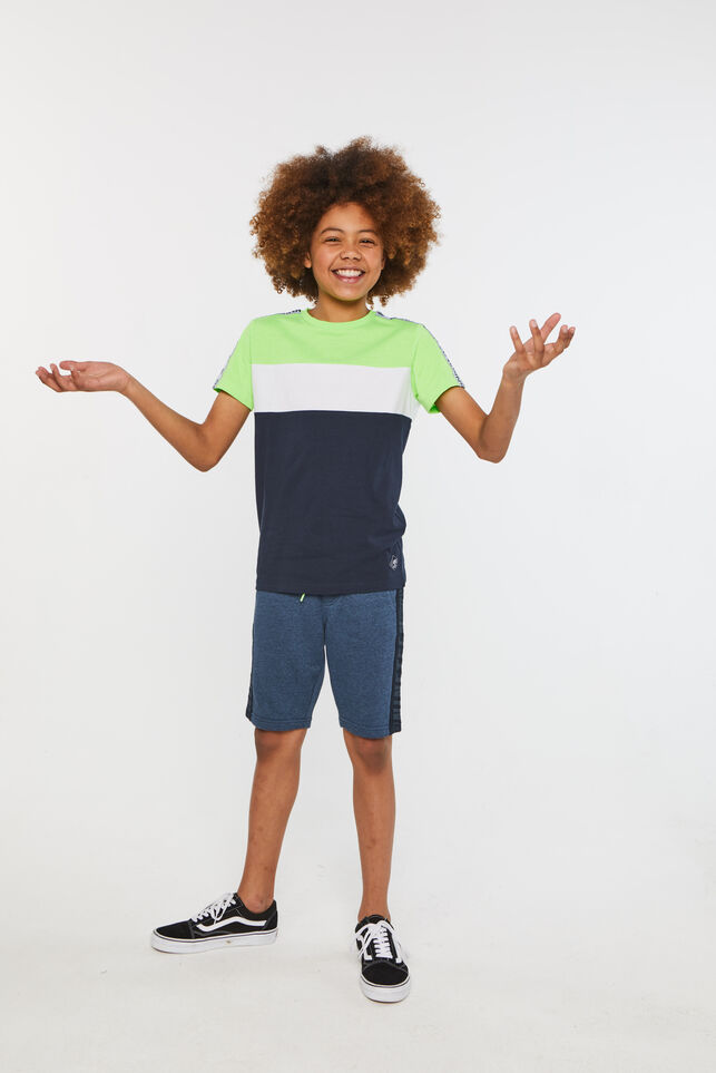 Jungen-T-Shirt in Colourblock-Optik Giftgrün