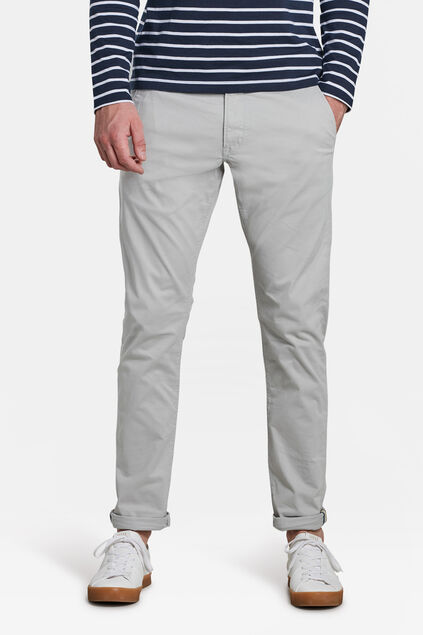 Herren-Slim-Fit-Chinos mit Tapered Leg Hellgrau