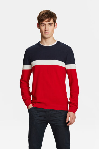 HERRENPULLOVER IN COLOURBLOCK-OPTIK Rot