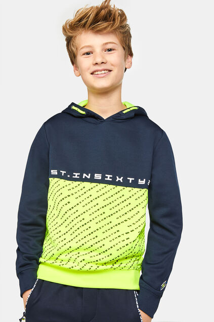 Jungen-Sportsweatshirt in Colourblock-Optik Knallgelb