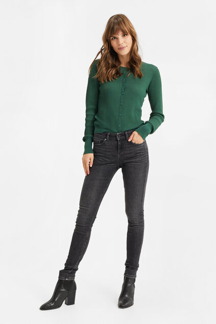 Damen-Superskinny-Stretch-Jeans Dunkelgrau