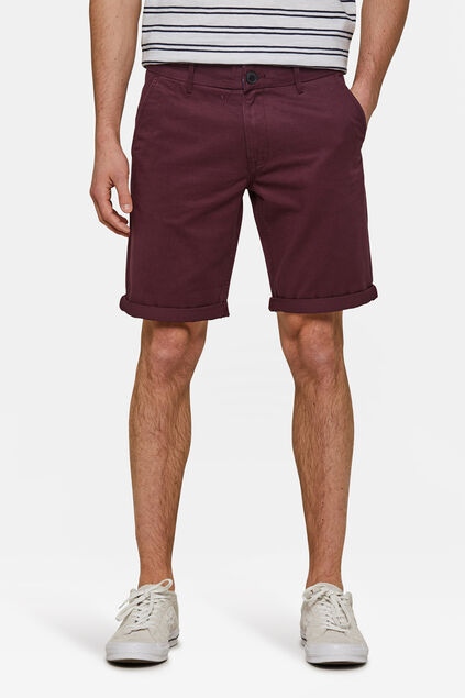 Herren-Regular-Fit-Chinoshorts Weinrot