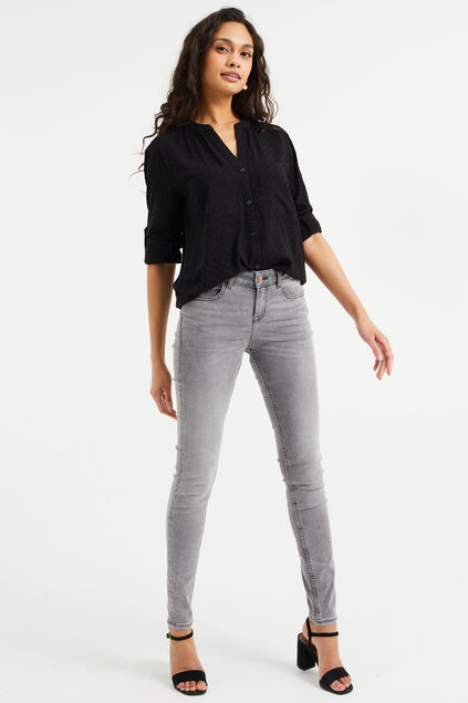 Damen-Superskinny-Jeans mit Super-Stretch und normaler Bundhöhe Hellgrau
