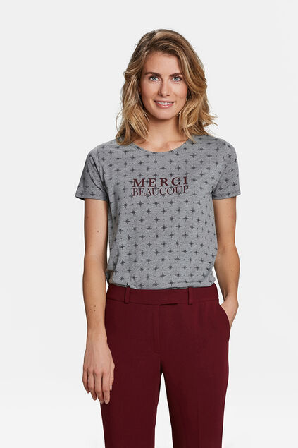 "DAMEN-T-SHIRT ""MERCI BEAUCOUP"" Grau"