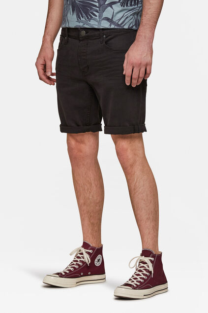 Herren-Regular-Fit-Jeansshorts Schwarz
