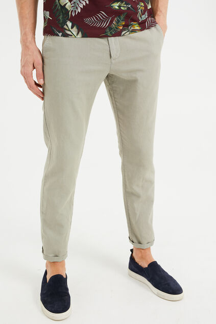 Herren-Slim-Fit-Chinos aus Leinen-Mix Graugrün
