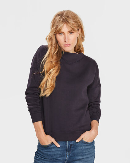DAMEN-SWEATSHIRT MIT V-DETAIL Marineblau