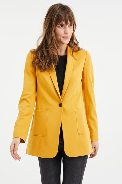 Damen-Regular-Fit-Blazer mit Stretchanteil Senfgelb