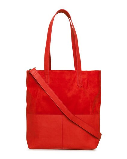 DAMEN-SHOPPER IM LEDERLOOK Rot