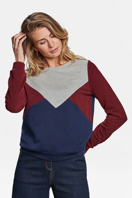 DAMEN-SWEATSHIRT IN COLOURBLOCK-OPTIK Blau