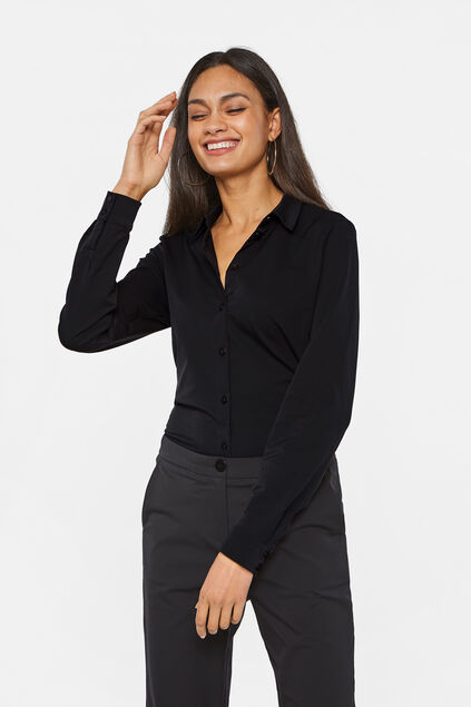 Damen-Slim-Fit-Bluse Schwarz