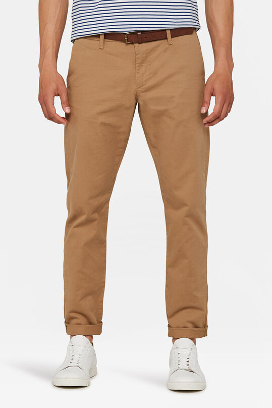 Herren-Slim-Fit-Chinos mit Tapered Leg Braun