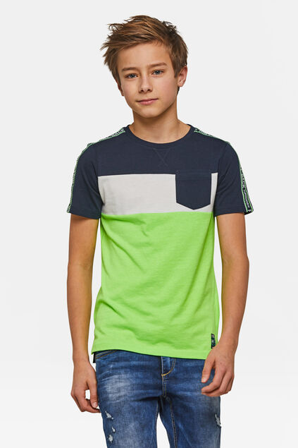 Jungen-T-Shirt in Colourblock-Optik Hellgrün