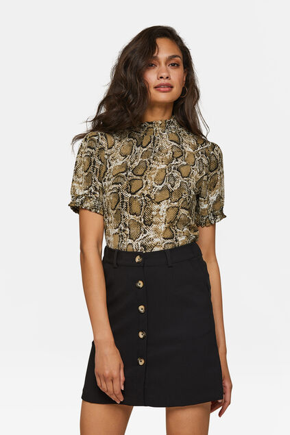 Damenshirt mit Animal-Print Khaki