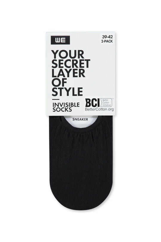 Damen-Sneakersocken Invisible, 2er-Pack Schwarz