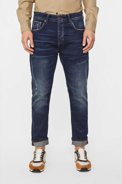 Herren-Loose-Fit-Jeans mit Distressed-Details Dunkelblau