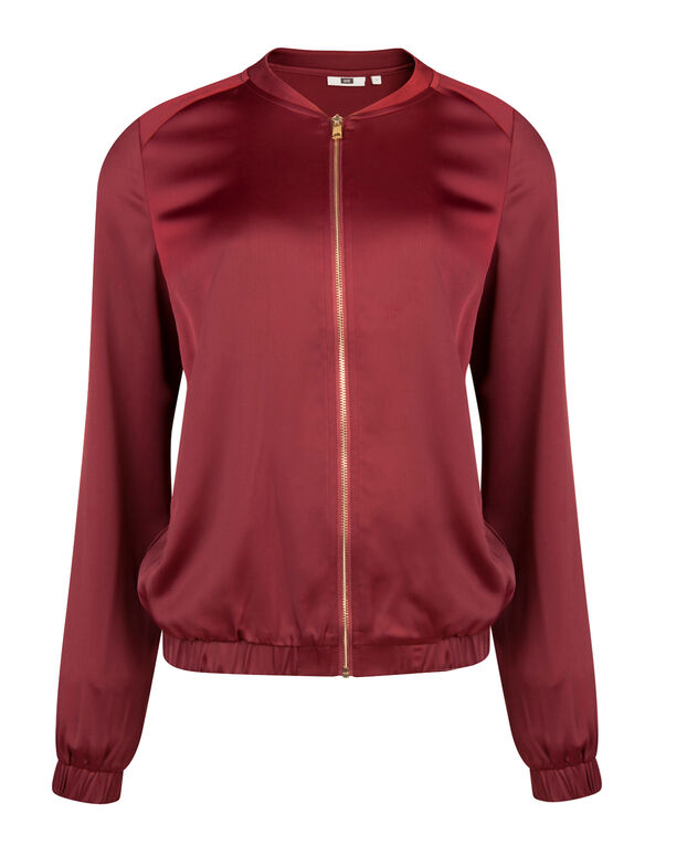 DAMEN-BOMBERJACKE IN SATIN-OPTIK Rot
