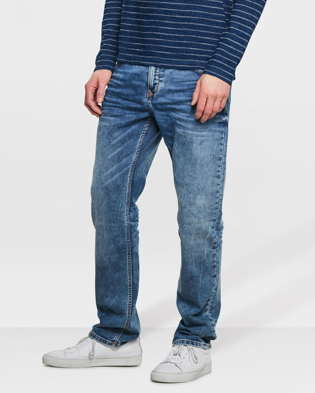 HERREN-JOG-DENIM MIT TAPERED LEG Blau