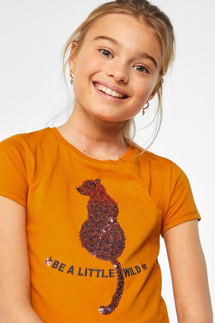 Mädchen-T-Shirt mit Pailletten-Applikation Orange