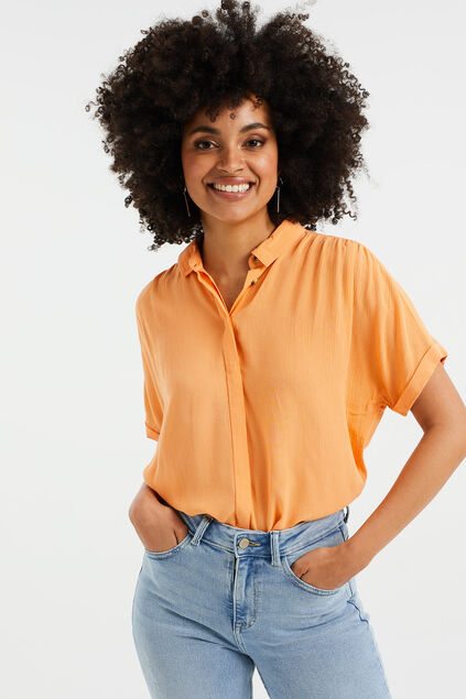 Damen-Relaxed-Fit-Bluse Orange