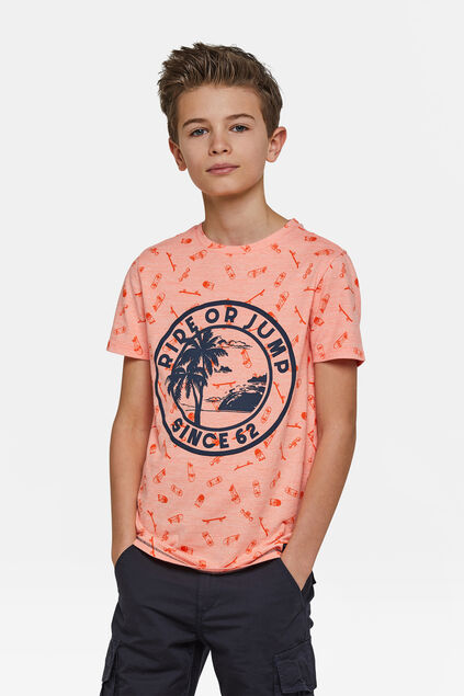 "Jungen-T-Shirt ""Ride or jump"" Orange"