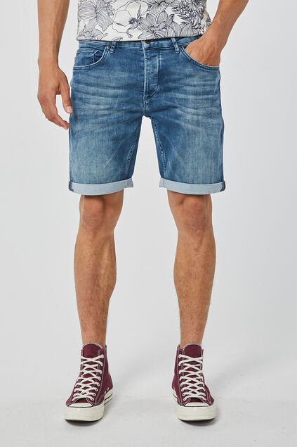 Herren-Regular-Fit-Shorts aus Jog-Denim Graublau