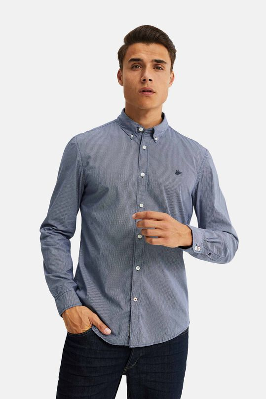 Herren-Slim-Fit-Hemd mit Allover-Print Blau