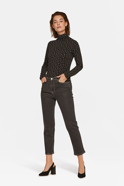 Damen-Straight-Fit-Jeans Schwarz